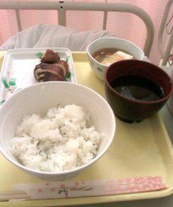 初日の入院食はイカ 岐阜県K市医師会病院